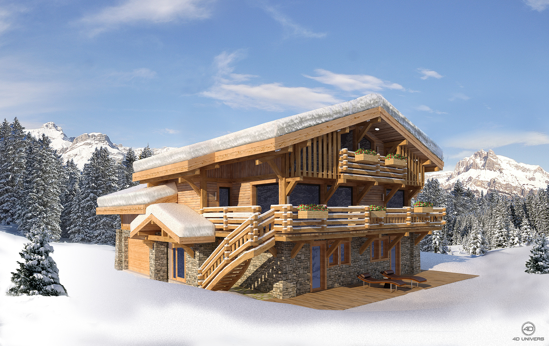 chalet meg ve 4d univers studio animation 3d On exterieur chalet