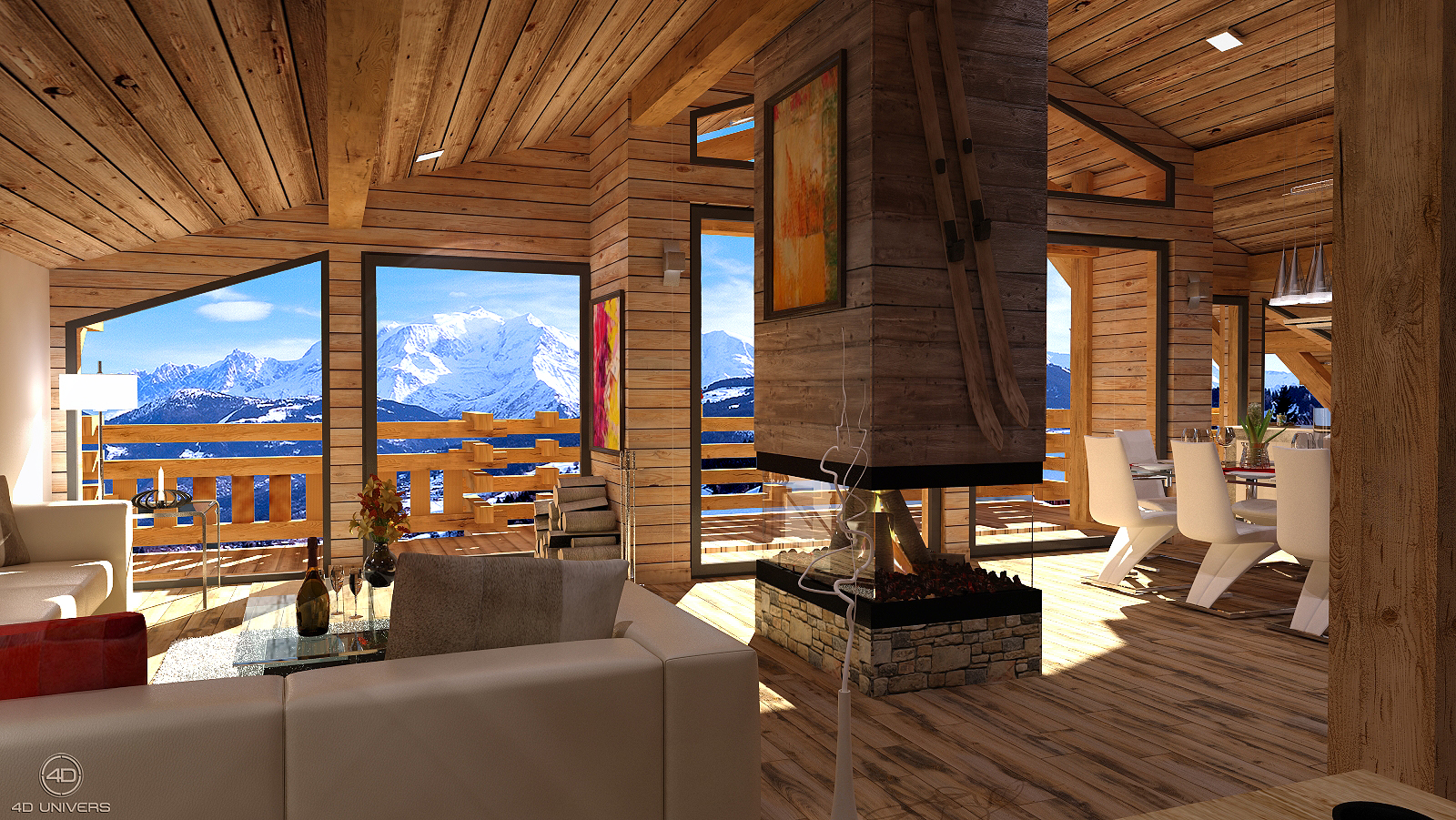 Realisations 3d 4d univers studio animation 3d architecture 3d visites virtuelles 360 for Interieur de chalet