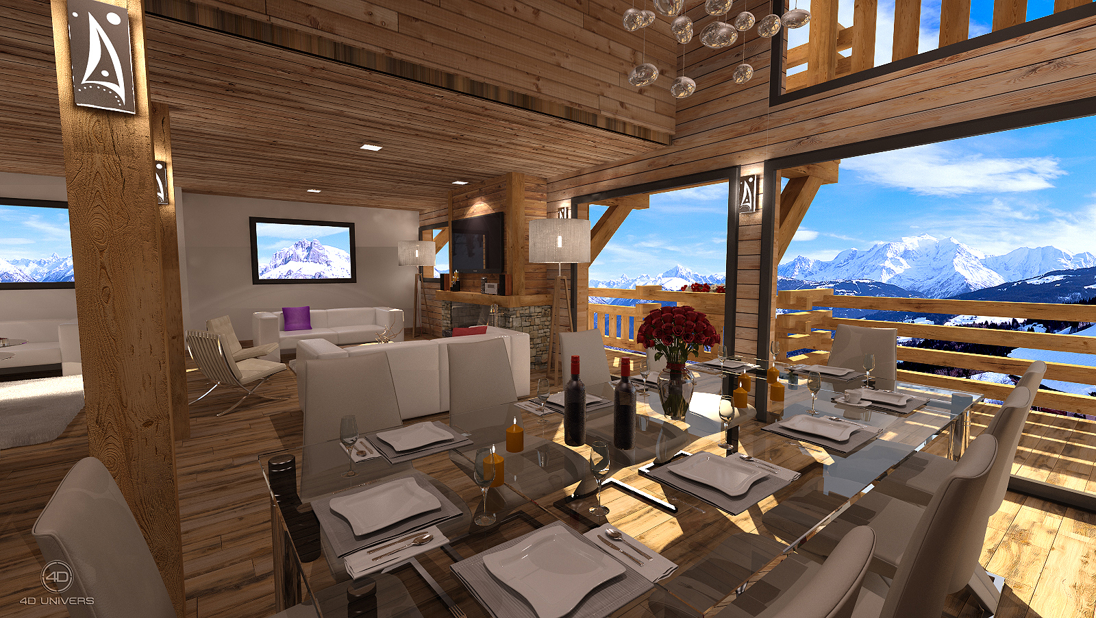 Chalet 3d suisse 4d univers studio animation 3d architecture 3d visites virtuelles 360 for Photo dinterieur de chalet de montagne