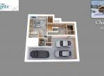 Plan de vente 3D du Chalet D Niveau 0