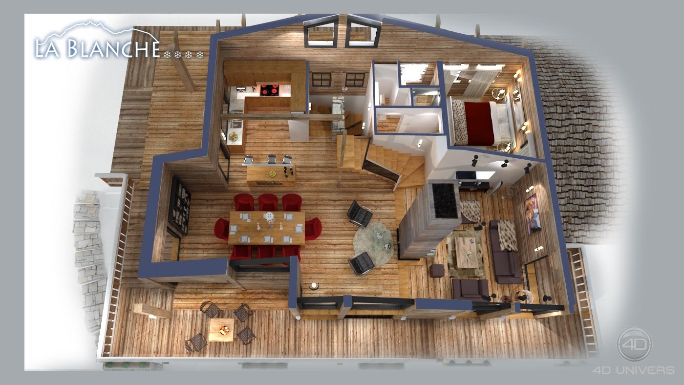 plan de vente 3d chalet 4d univers studio animation 3d architecture 3d visites virtuelles. Black Bedroom Furniture Sets. Home Design Ideas