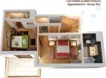 Plan de vente 3D, niveau 1, chalet 3D