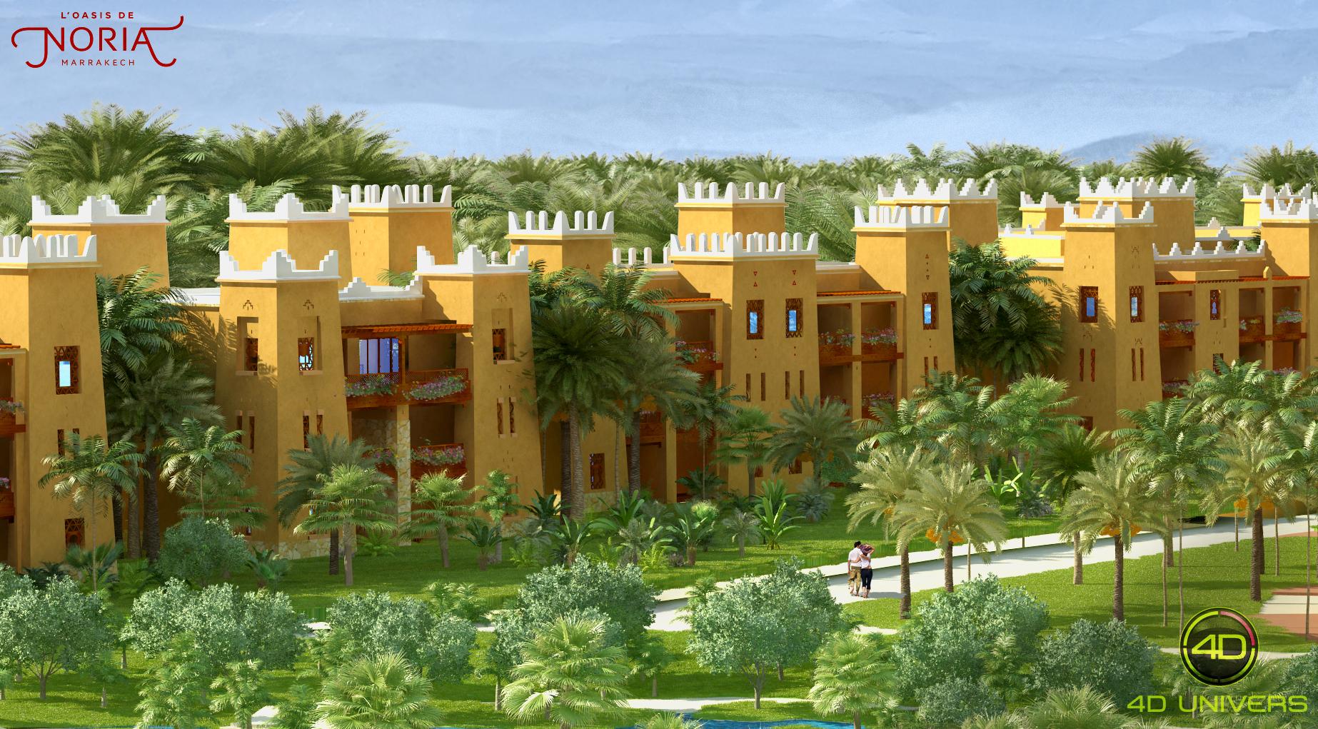 Perspective 3d oasis de noria marrakech - Architecture 3d vue 3d ...