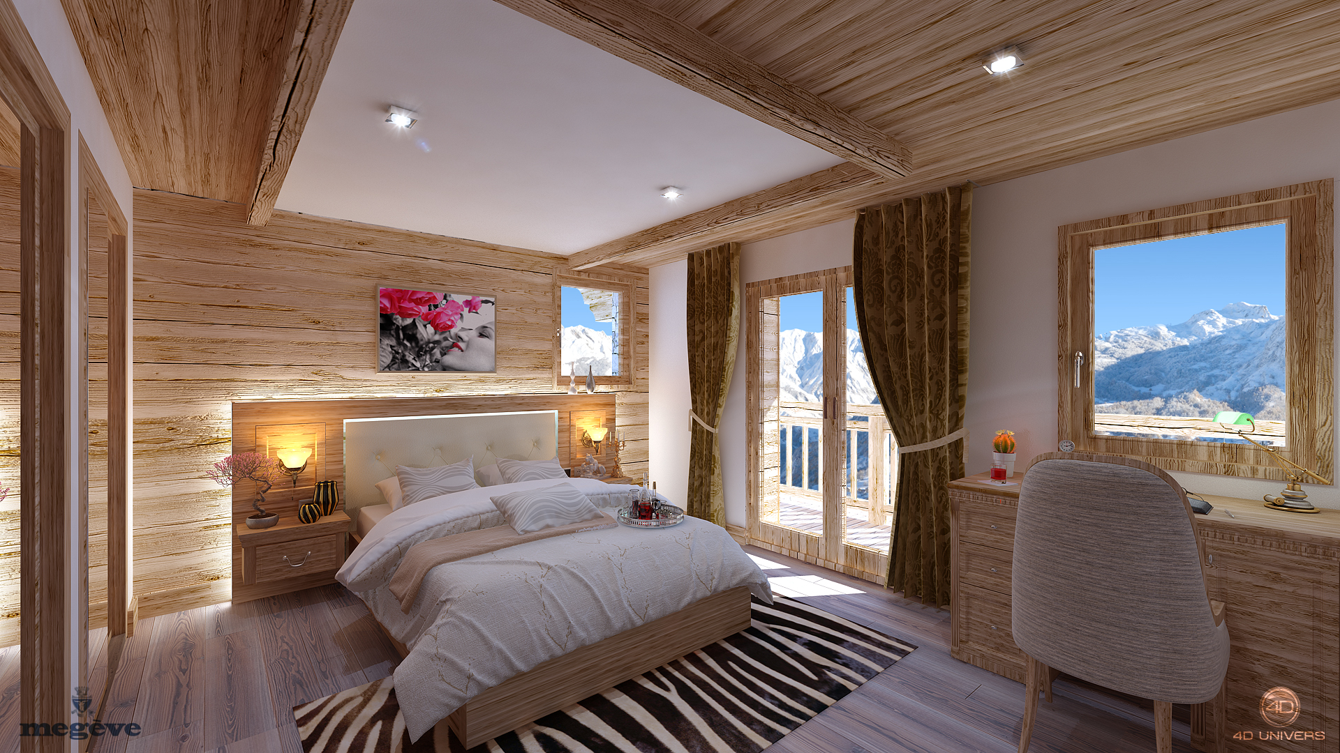 Chalet 3d 4d univers studio animation 3d for Interieur chambre