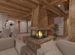 La cheminée, 3D Perspective intérieur du Chalet Roc de Fer à Saint Martin de Belleville, client Promojay