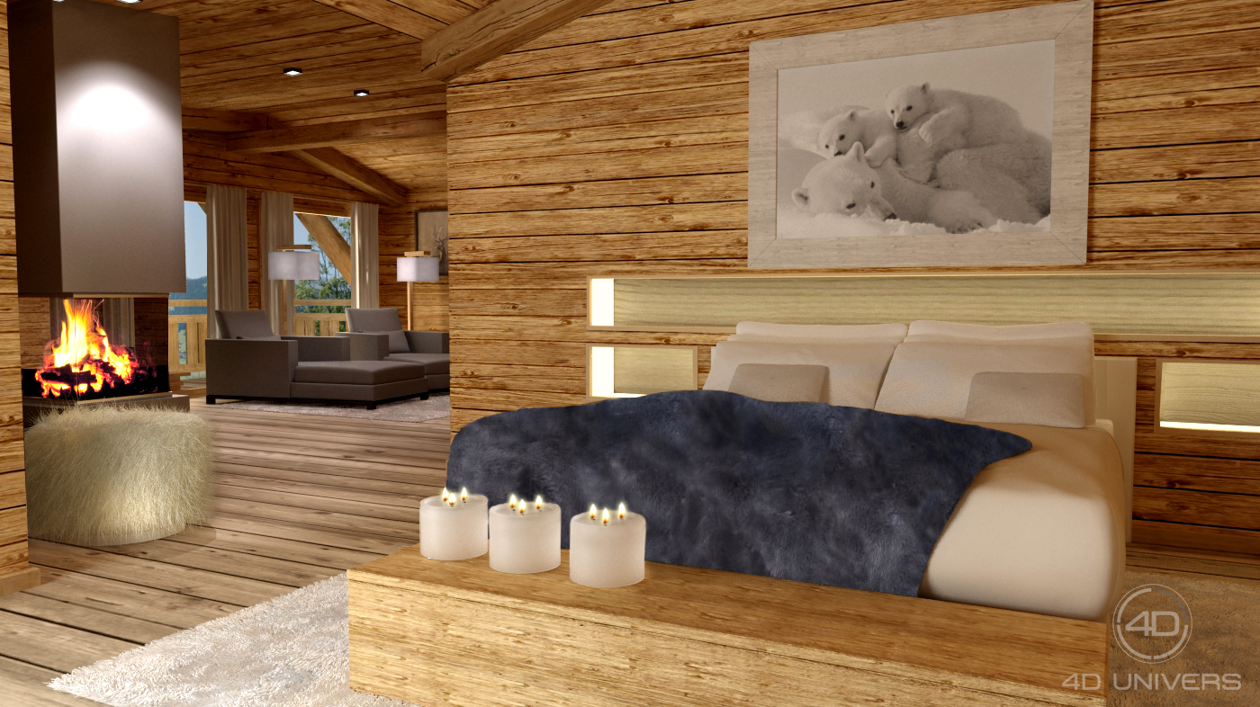 Perspective 3d et d coration d int rieur en image de for Decoration interieur style chalet