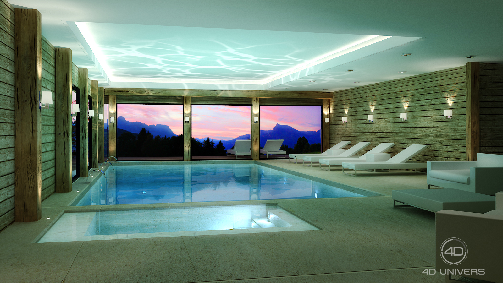 Perspective 3d et d coration d int rieur en image de synth se chalet meg ve top arbois for Piscine d interieur