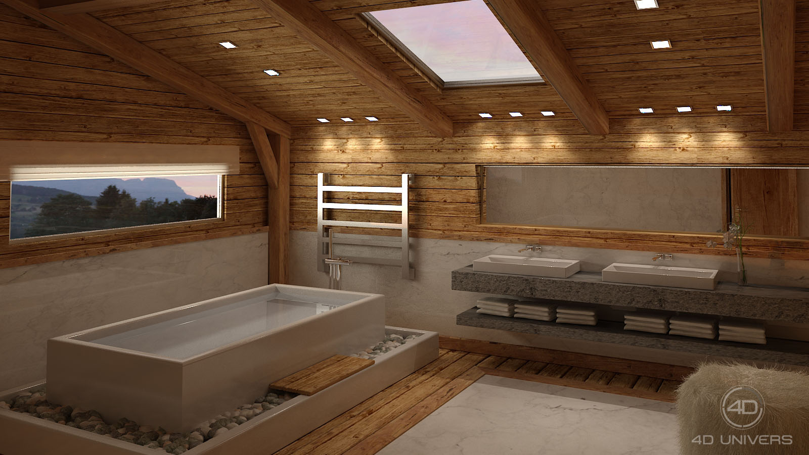 Decoration chalet megeve for Salle bain 3d