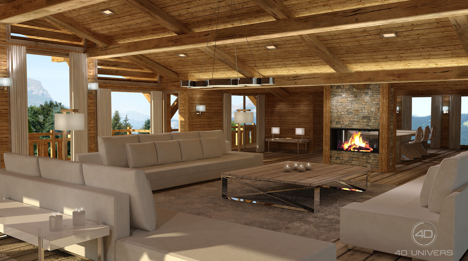 Perspective 3d et d coration d int rieur en image de for Decoration interieur chalet