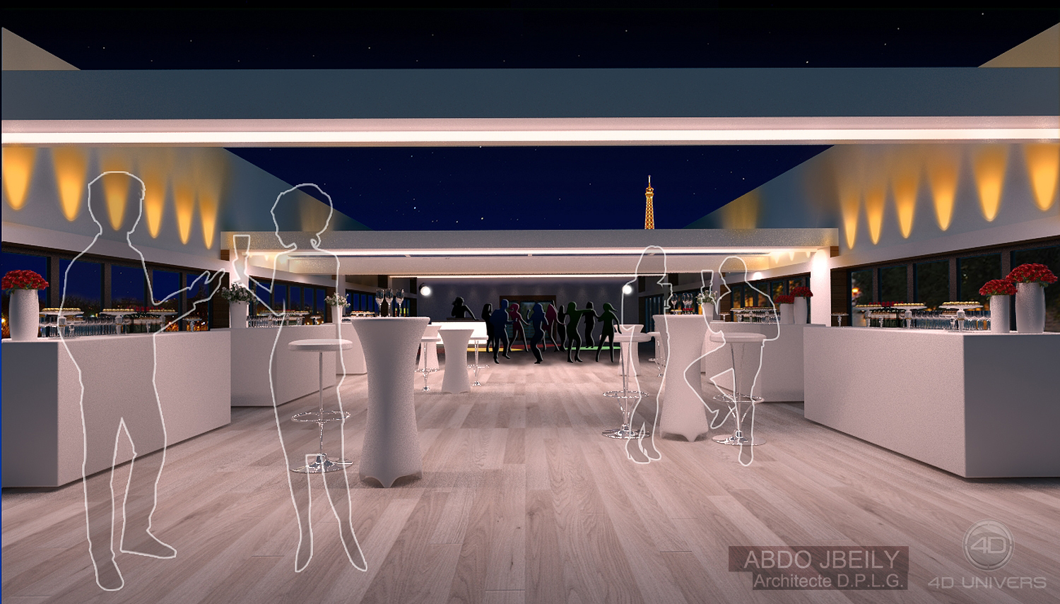 Restaurant 3d vue 4d univers studio animation 3d for Architecture 3d vue 3d