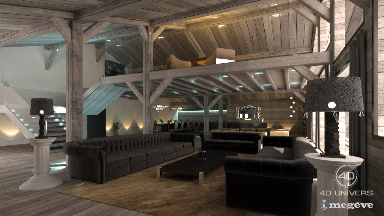 Interieur 3d chalet salon luxe 4d univers studio animation 3d architecture 3d visites for Interieur de chalet